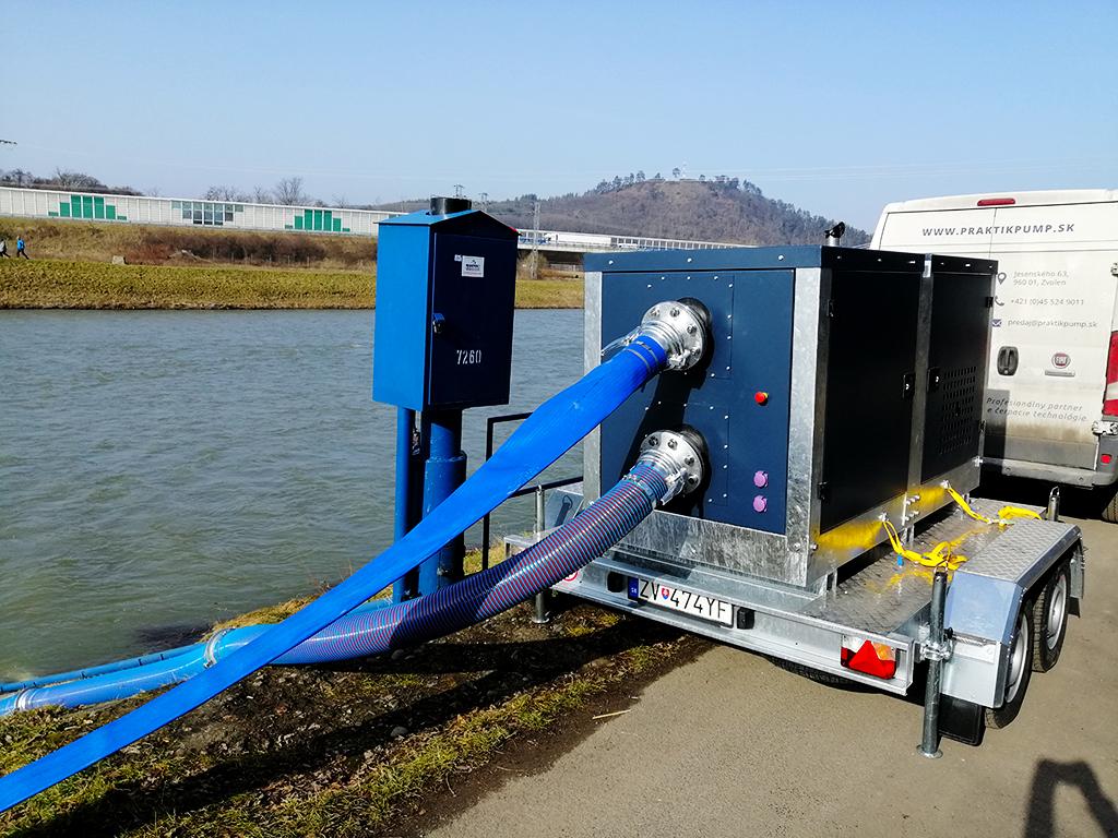 Mobilný prečerpávací agregát PRAKTIKPUMP PCSW 150 s čerpadlom SPIRAM a dieselovým motorom KOHLER